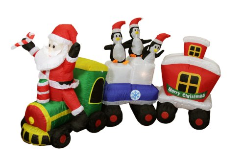 "82"" Airblown Inflatable Santa Claus Train Lighted Christmas Yard Art Decor front-1009140"