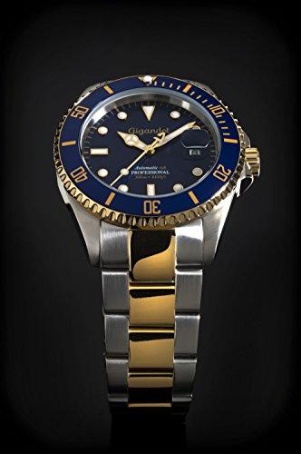 Gigandet Automatik Herren-Armbanduhr Sea Ground Taucheruhr Uhr Datum Analog Edelstahlarmband Blau Gold G2-001 3