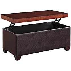 "Home to Office Solutions Lift Top Coffee Table, Upholstered Faux Leather Ottoman with Wood Top, Black from ""Black"" to Dark Brown."