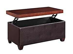 H2o Lift Top Storage Coffee Table Upholstered Faux Leather Ottoman Sides With Wood
