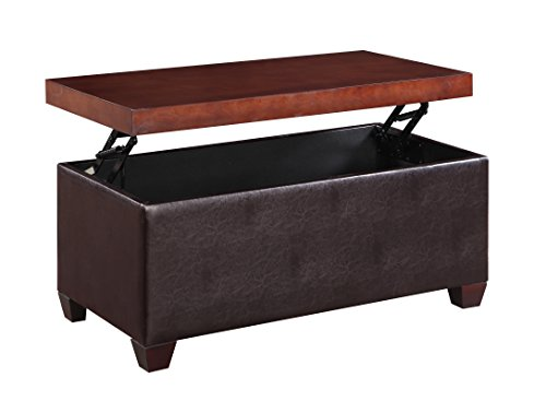 H2o lift top storage coffee table upholstered faux leather ottoman sides with wood top black Coffee table with leather top