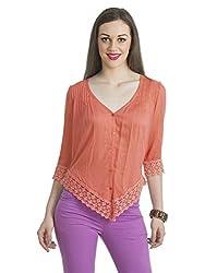 Bohemian You Women's Blouse Top (coralembblouse_Peach_Large)