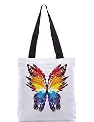 Snoogg Butterfly Graphic Colourful Poly Canvas Tote Bag