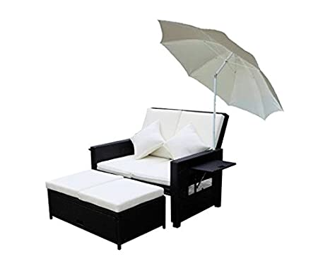 PE ratán multifunción sofá sofá Asiento Grupo Lounge mesa soporte Banco con sombrilla