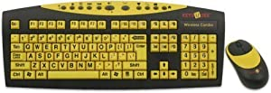AbleNet Keys-U-See Large Print English USB Keyboard with Wireless Mouse Bundle, Black and Yellow (CD1542)