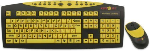 Keys-U-See Large Print Yellow Wireless Keyboard And Wireless Optical Mouse With Usb Wireless Receiver