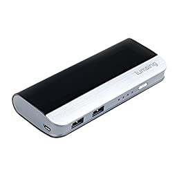 Lumsing®Harmonica Series Dual-USB Portable Battery Charger 10400mah External Power Bank for iPhone 6S 6 Plus 6 5S 5 iPad Air iPad Mini Samsung Galaxy S6 Edge+ S6 Nexus HTC Gopro and more (Black)