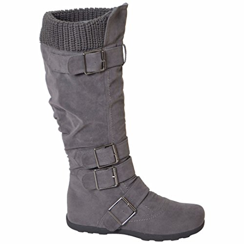 Womens Mid Calf Knee High Boots Ruched Suede Knitted Calf Buckles Rubber Sole Gray SZ 11