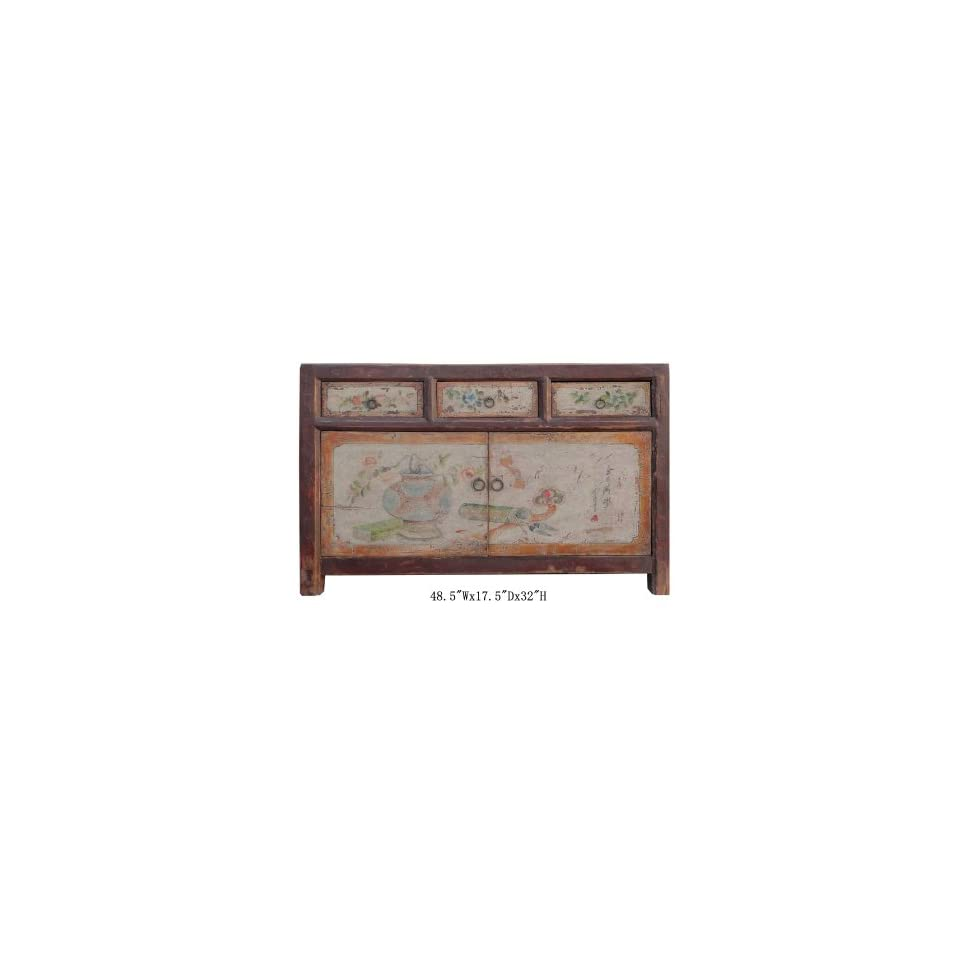 Chinese Carving Panel Rustic Red Low TV Console Cabinet Acs1312