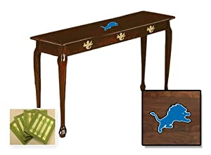 Cherry Finish Sofa Table featuring your choice of NFL team logo and also includes a set of free coasters!