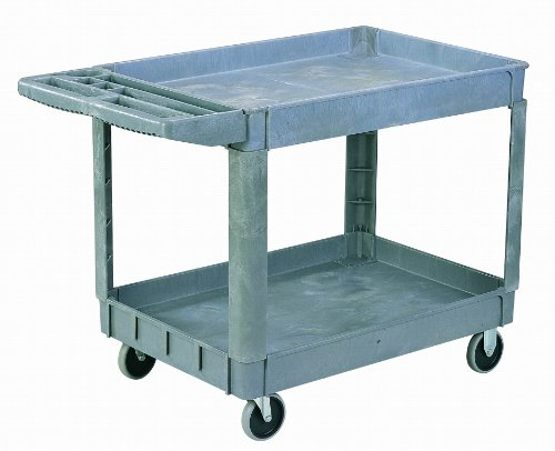 Sandusky PUC174033-2 Heavy Duty Plastic Utility Cart, 2 Shelves, 33