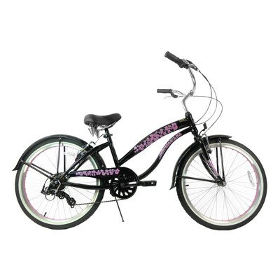 Women's 7 Speed Beach Cruiser Frame Color: Black