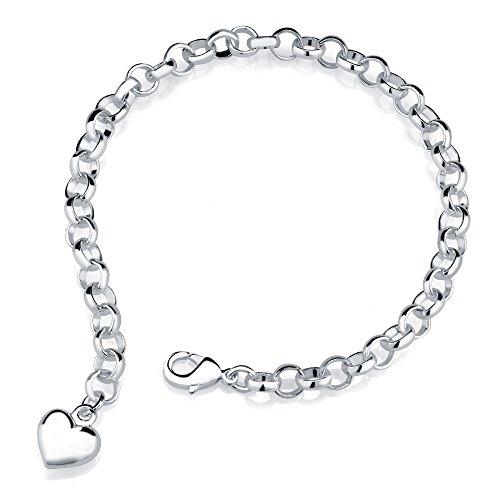 Inspired Sterling Silver Finish Heart Charm Bracelet (White Gold)