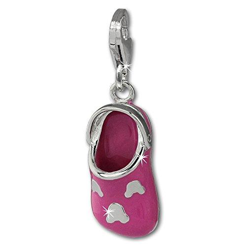Argento Dream Charms zoccoli Infradito Rosa in argento Sterling 925Ciondolo Charm per braccialetto collana orecchino FC871P