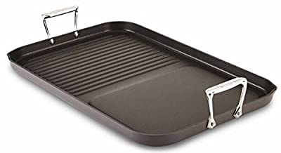 All-Clad E7959064 Hard Anodized Aluminum Non-Stick Combo Grill/Griddle Specialty 13 by 20-Inch Cookware Pan, 20-Inch, Black