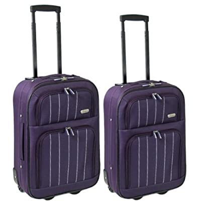 Karabar Set of 2 Cabin Approved Super Lightweight Suitcases (Aubergine)