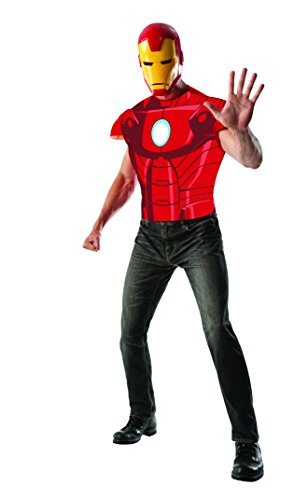Rubie's Costume Men's Marvel Universe Iron Man Muscle Chest T-Shirt and Eye Mask