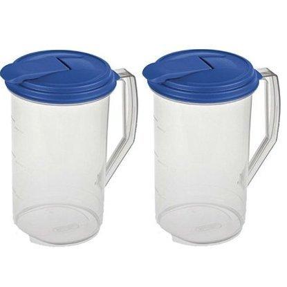 Sterilite 2 Quart Round Plastic Hinged Pitcher, Sky Blue Lid | 04864106 (Pitcher Shake compare prices)