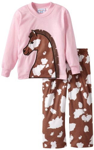 Sara'S Prints Little Girls' Unisex Character Pajamas With Tails, Horse Applique, 5