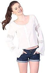 Unimod Women's Cotton Regular Fit Top (U004_White_S, White, S)