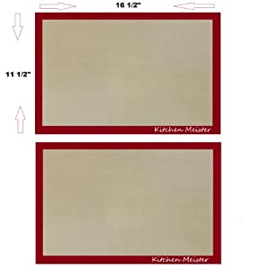 Silicone Baking Sheet Mat Liner 16 ½ X 11 5 8 Set of 2. Non-stick, Flexible,... by Kitchen Meister