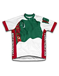 Turkmenistan Flag Short Sleeve Cycling Jersey for Women
