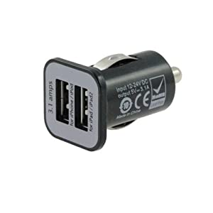 iFlash Dual USB Car Lighter Charger Adapter with 3A Output - fast Heavy Duty Ouput - Black Color from iFlash