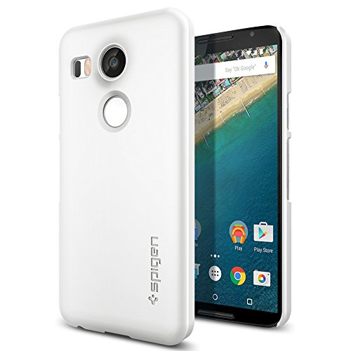 【Spigen】 Nexus 5X ケース シン ・フィット [ パーフェクト フィット ] Google LG Nexus 5X 用 (Nexus 5X, シマリー・ホワイト【SGP11758】)