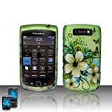Rubberized Hawaiian Flowers Snap on Design Case Hard Case Skin Cover Faceplate for Blackberry Torch 9800