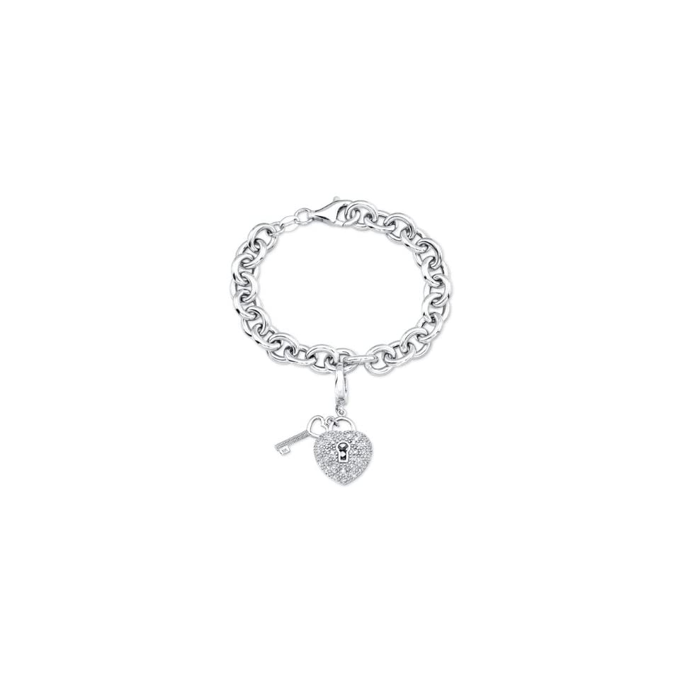 33a83a8ee Victoria Kay Sterling Silver Heart Lock and Key Charm Bracelet with Diamond  Accents, 7