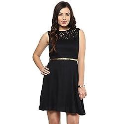 STYLEBAY Women Black Lace Panel Dress (CSD009, Medium)