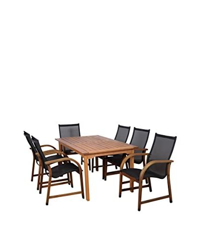 Amazonia Bahamas 7-Piece Eucalyptus Rectangular Patio Dining Set, Brown