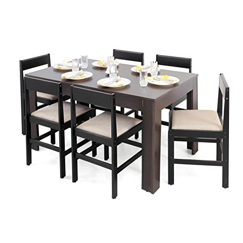 Forzza Carter Six Seater Dining Table Set (Matte Finish, Wenge)