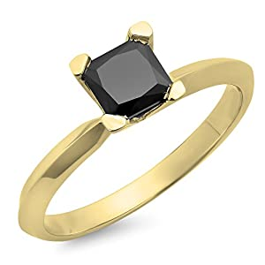 1.00 Carat (ctw) 10K Yellow Gold Princess Cut Black Diamond Ladies Engagement Ring 1 CT (Size 8)