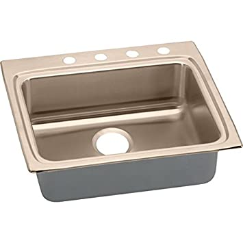 Elkao|#Elkay LRAD2522553-CU 18 Gauge Cuverro Antimicrobial copper, 25 Inch x 22 Inch x 5.Inch single Bowl Top Mount Sink.,