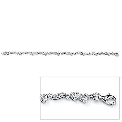 Palm Beach Jewelry - Platinum over Sterling Silver Diamond Heart and Wings Ankle Bracelet