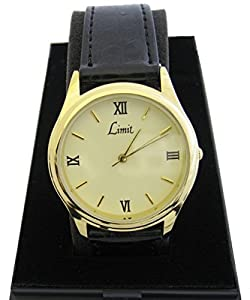 limit gents mens gold plated mineral glass