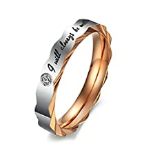 """buy Bishilin """"I Will Always Be With You"""" Rose Gold Plated Zirconia Engagement Rings For Women Size 7"""