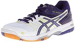 ASICS Women\'s Gel Rocket 7 Volley Ball Shoe,White/Lavender/Purple,8.5 M US