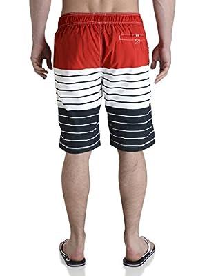Smith & Jones Herren Badehose Beach & Flip-Flops, gestreift, Rot