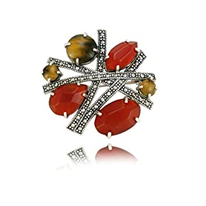 Sterling Silver Marcasite, Carnelian and Tiger's Eye Geometric Pin