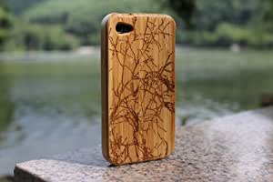 eimo Natural Handmade hard wood Bamboo Case Cover for iPhone 4/4S(bird)