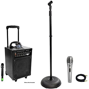 Pyle Speaker, Mic, Cable and Stand Package - PWMA930I 600 Watt VHF Wireless Portable PA Speaker System/Echo W/Ipod Dock - PDMIK1 Professional Moving Coil Dynamic Handheld Microphone - PMKS5 Compact Base Black Microphone Stand - PPMCL30 30ft. Symmetric Microphone Cable XLR Female to XLR Male