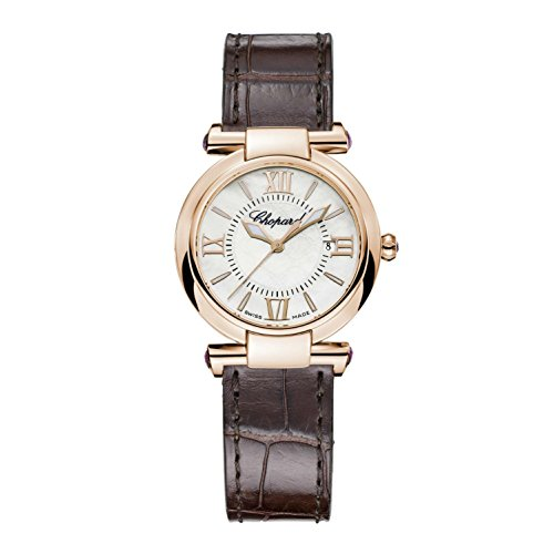 Chopard Women's Imperiale 28mm Brown Leather Band Steel Case Quartz Silver-Tone Dial Watch 384238-5001