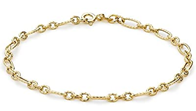 Carissima 9ct Yellow Gold Diamond Cut Figaro Bracelet 19.5cm/7.75""