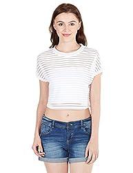 Elle Women's Body Blouse Top (EETO0291_White_Large)