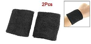 Buy Black Elastic Terrycloth Sports Badminton Tennis Wristband 2PCS by Como
