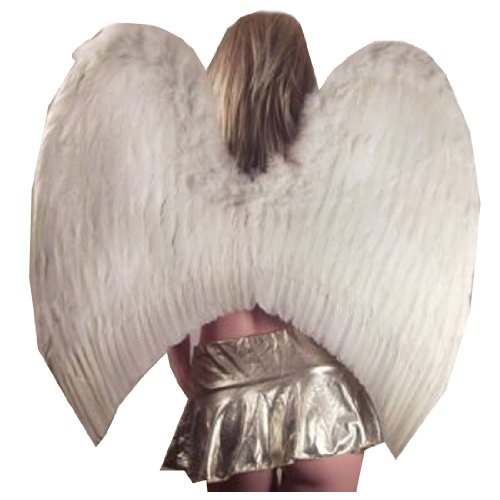 SACAS Super Large White Feather Angel Wings w/ Halo for Adult Women and Men