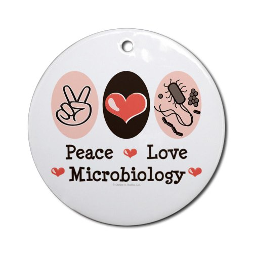Peace Love Microbiology Ornament Round Round Ornament