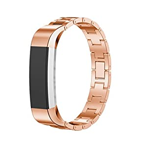 Dreaman Stainless Steel Watch Band Wrist Strap For Fitbit Alta Tracker Rose Gold